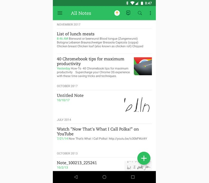 Android note taking apps - Evernote