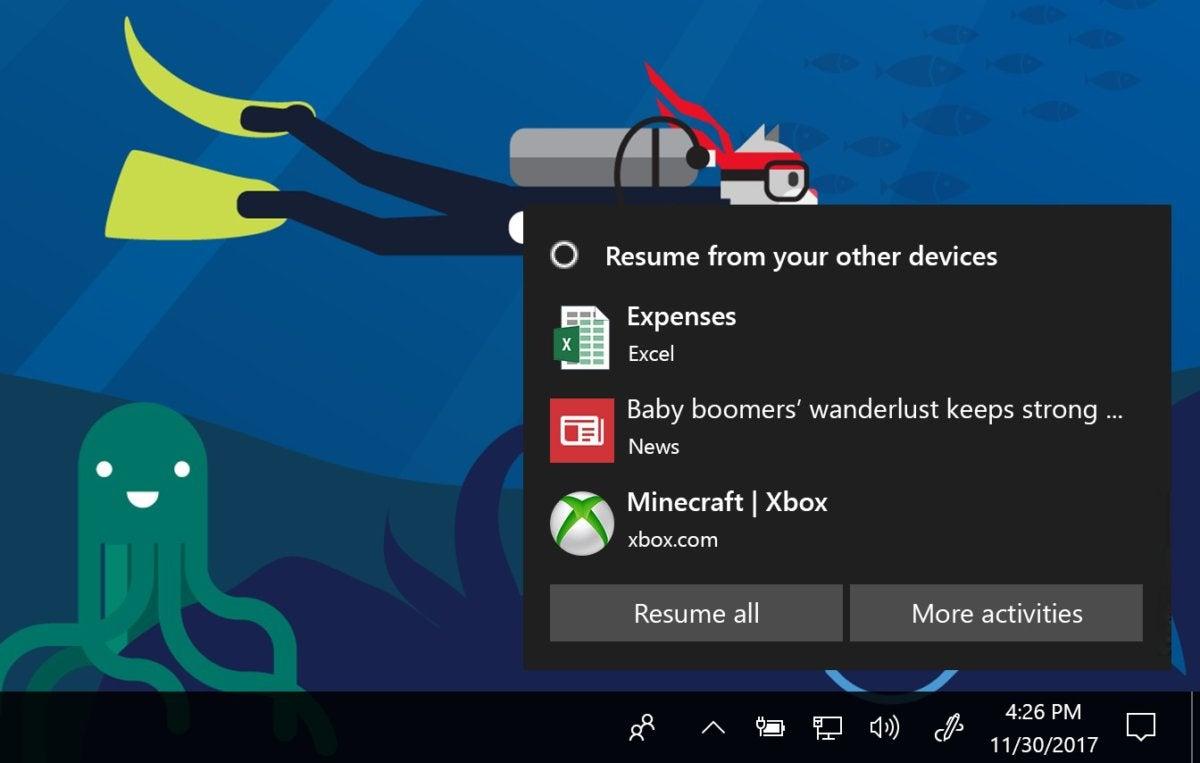 Windows 10 17063 cortana timeline