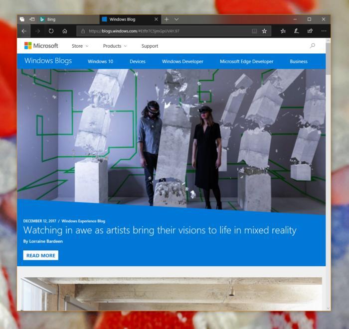 Windows 10 17063 edge fluent design