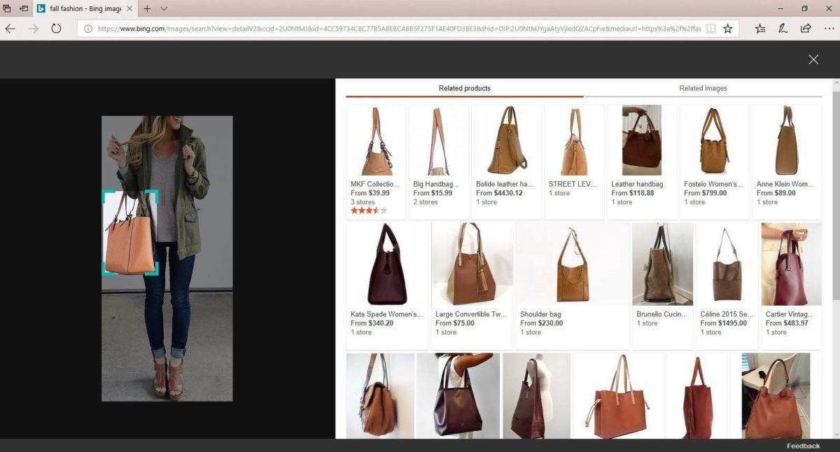 Microsoft Bing fashion image search