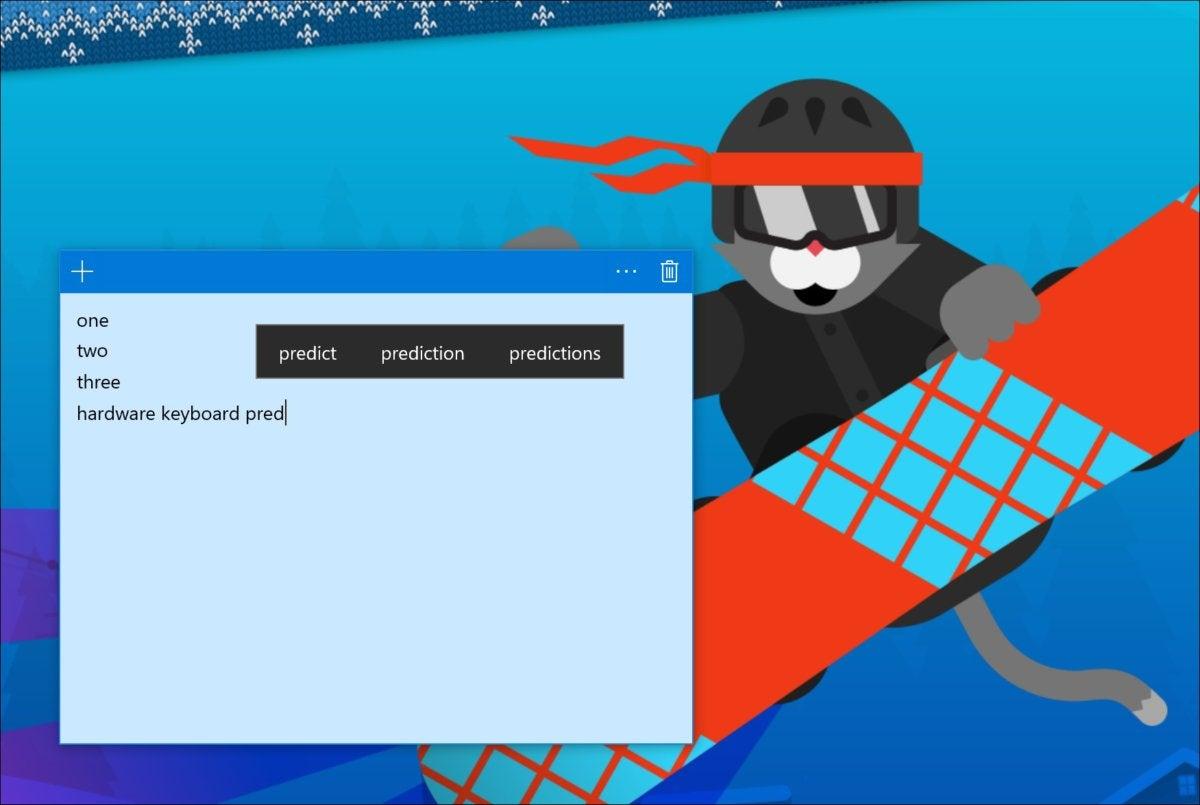 Windows 10 17063 hardware keyboard predictions
