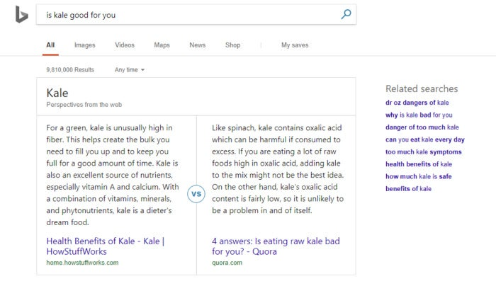 Microsoft Bing is kale good for you