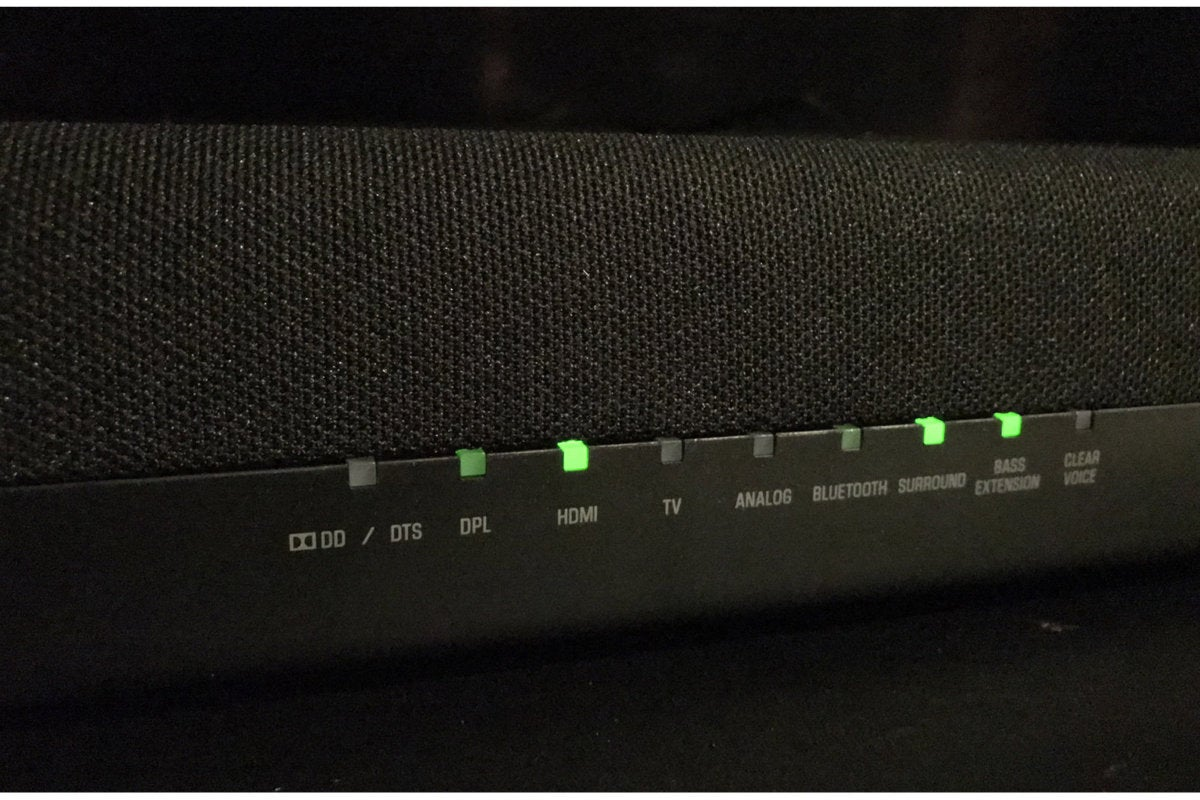 Lights show you the sound bar's settings. The indicator lights can be turned off if distracting.