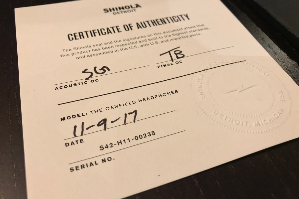 Each pair of Shinola Canfield heapdhones comes with a certificate of authenticity.