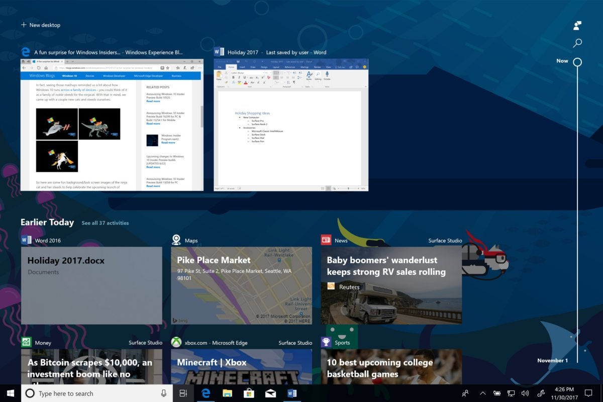Windows 10 17063 timeline