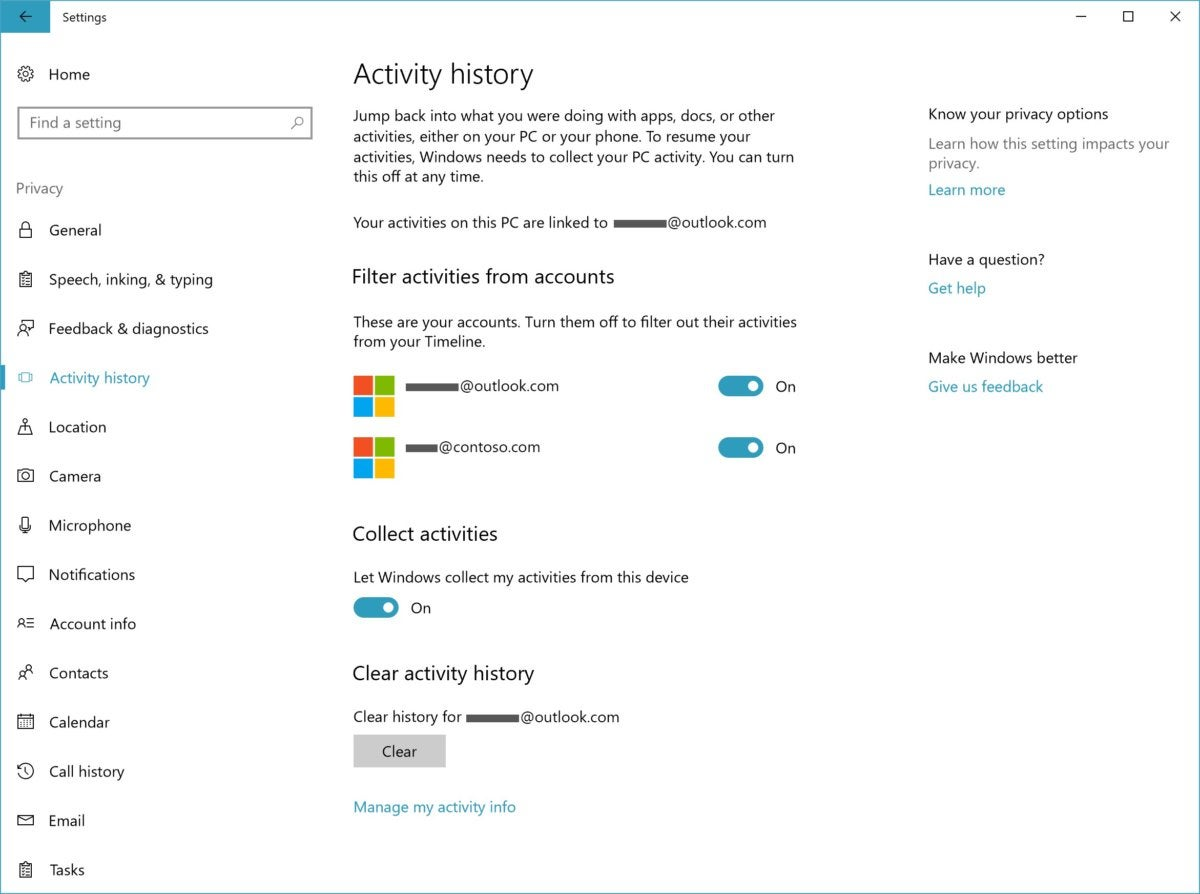 Windows 10 17063 timeline settings