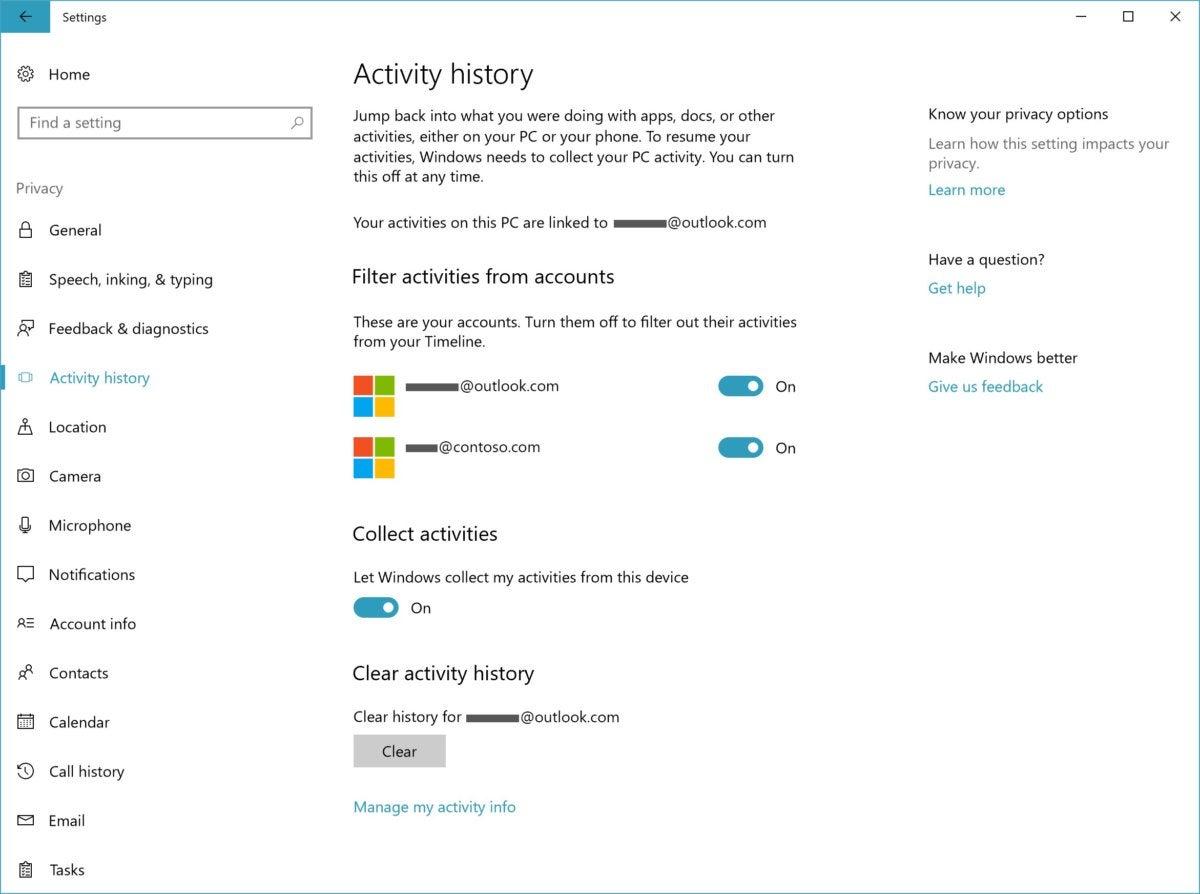 Windows 10 17063 timeline settings