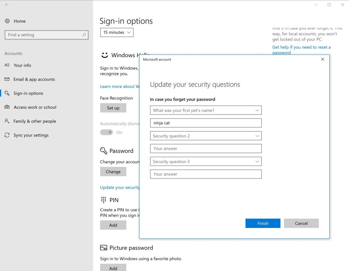 Windows 10 17063 windows 10 security questions