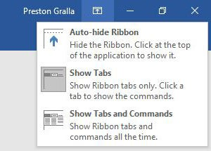 Microsoft Word 2016 - Ribbon display options