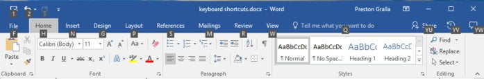 Microsoft Word 2016 - Ribbon shortcuts