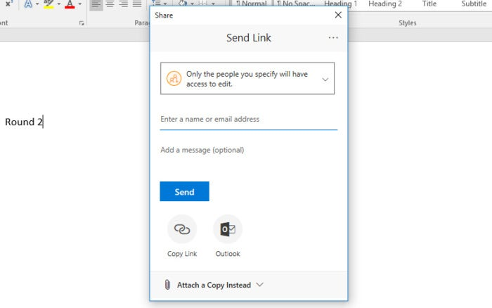 Microsoft Word 2016 sharing - Send Link window
