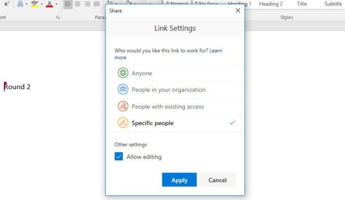 Microsoft Word 2016 Share Link settings