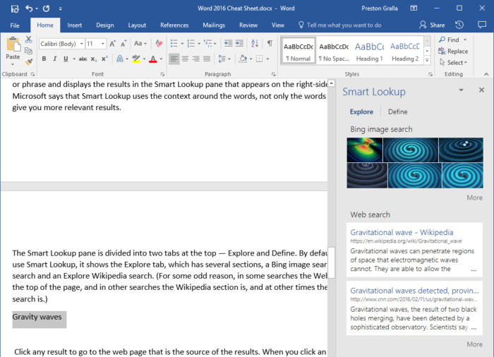 Microsoft Word 2016 - Smart Lookup