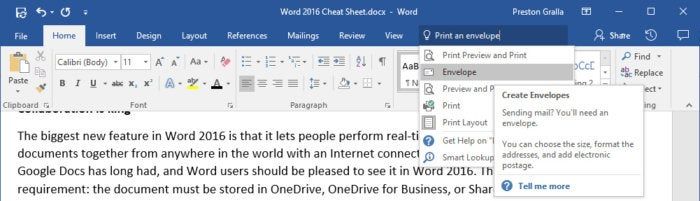 microsoft word 2016 - tell me