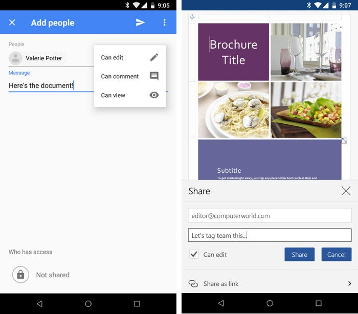 Android apps for collaboration - Google Docs and Microsoft Word