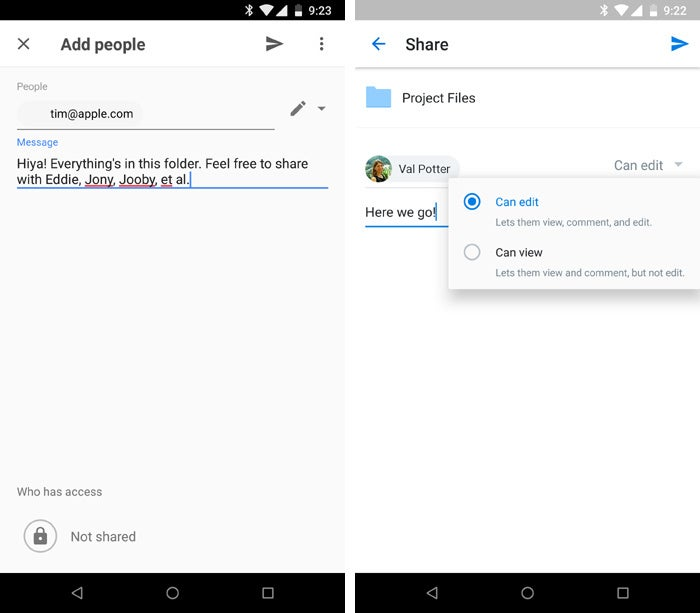 Android apps for collaboration - Google Drive and Microsoft OneDrive