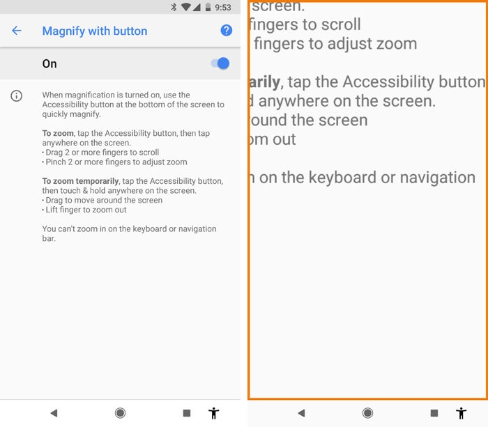 Android Oreo tips - accessibility button screen magnification