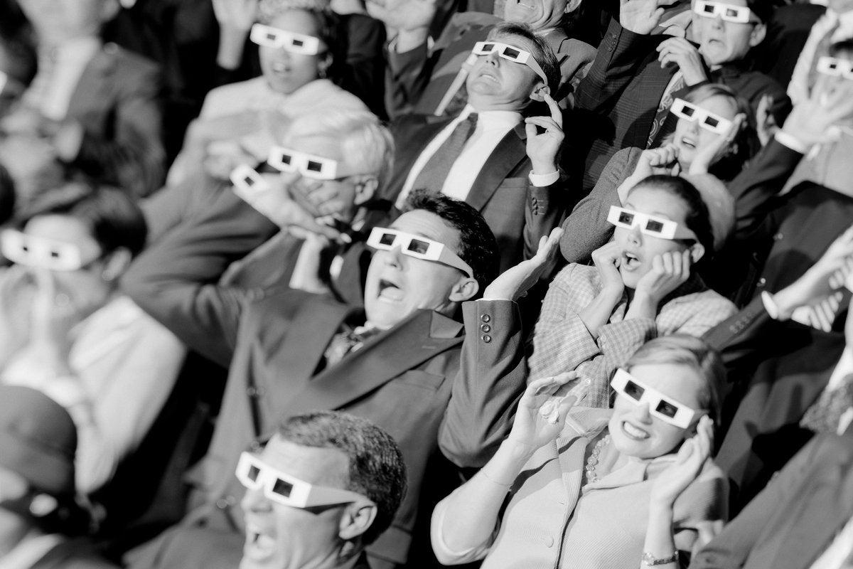 3d theatre glasses retro horror scared crowd