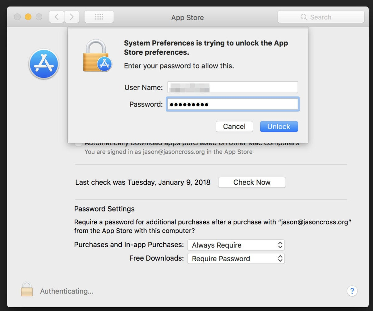 macOS High Sierra bug: Unlock App Store preferences with any