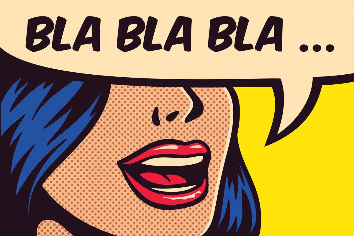 comic style woman blah blah blah speech bubble
