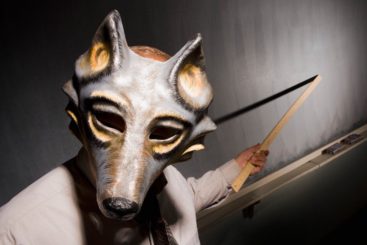 creepy teacher chalkboard wolf