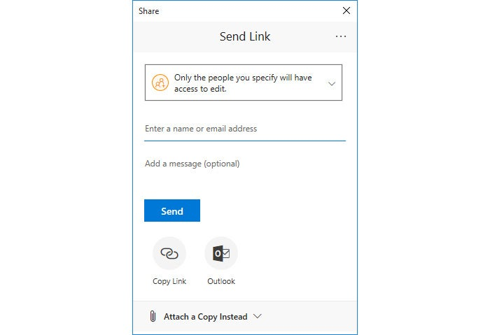 PowerPoint 365 collaboration - Send Link window