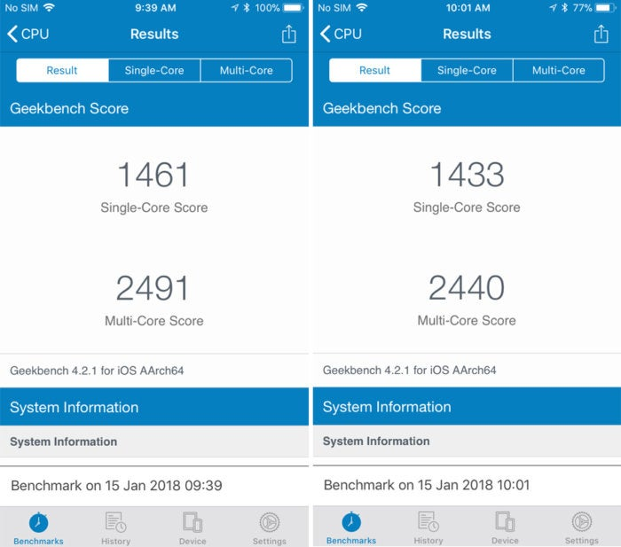 geekbench ios 11.2.2