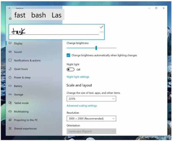 Windows 10 handwriting