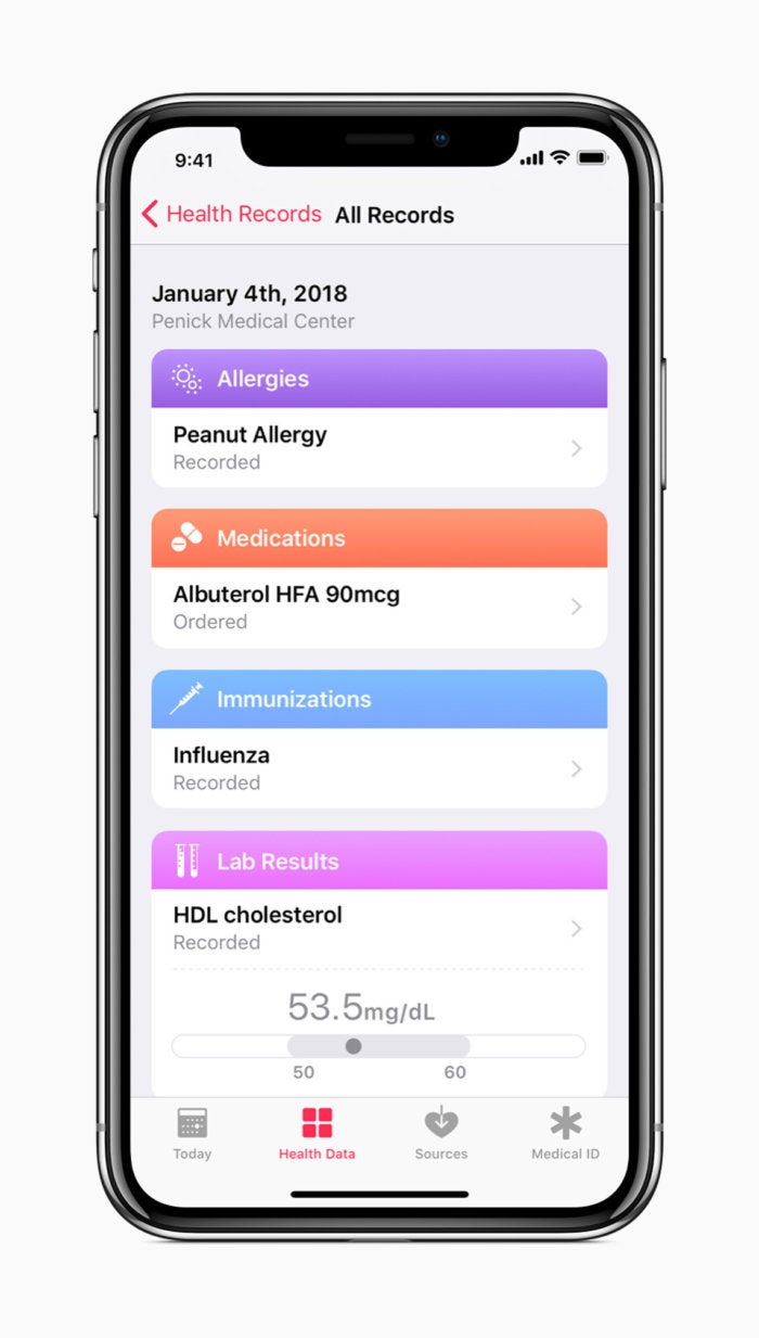 iphone x apple all health records screen 01232018