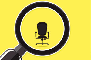 magnifying glass office chair employment career job search recruiter