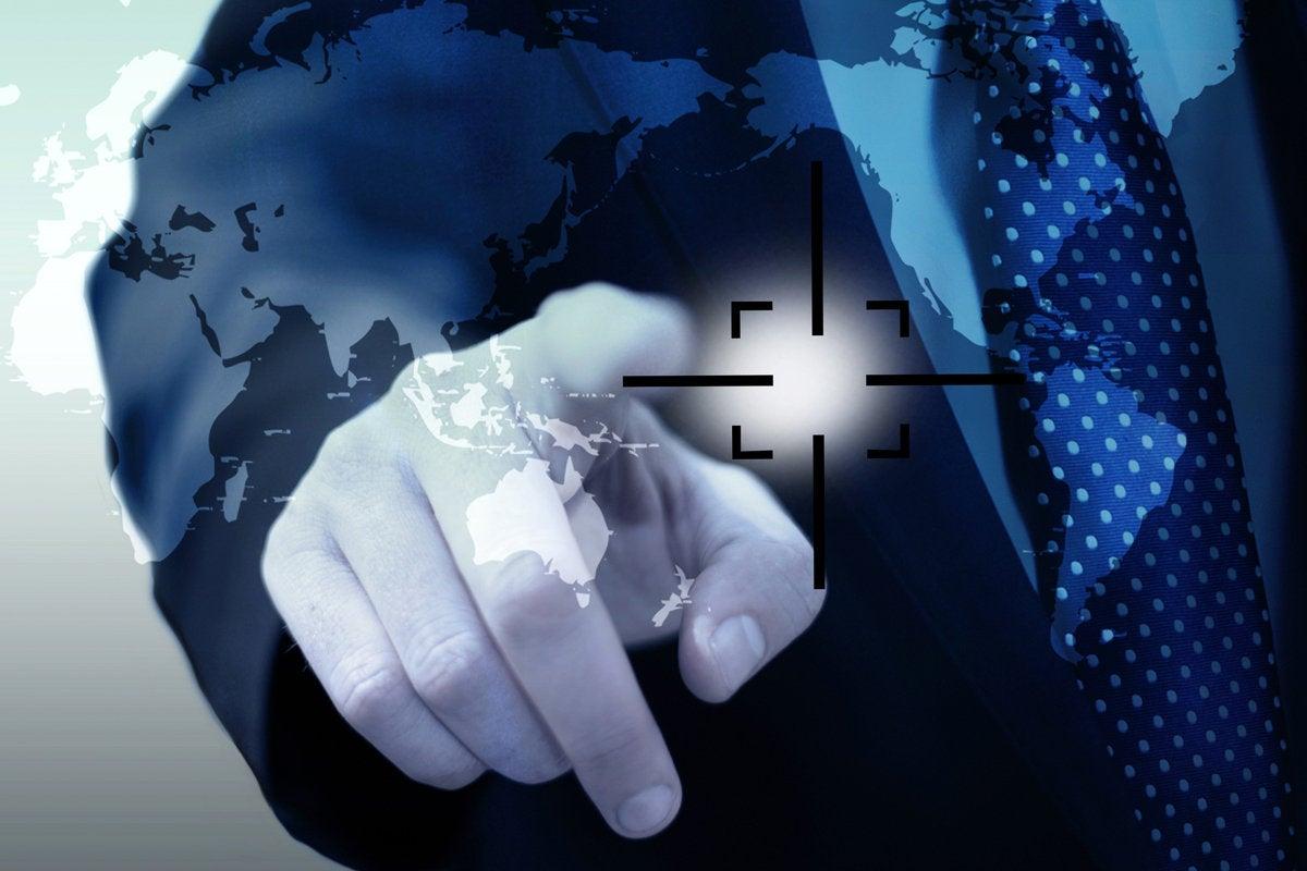 man pointing at virtual map target strategy plan global