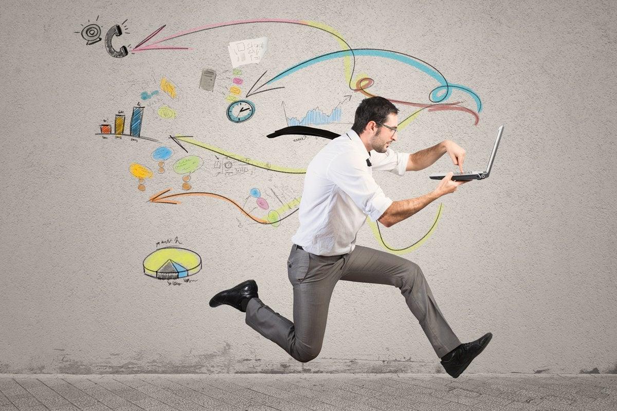 multi tasking running executive race speed internet mobile laptop