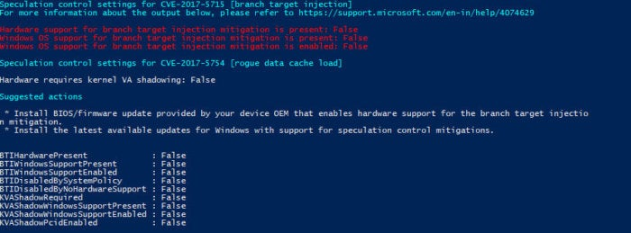 SpeculationControl Validation PowerShell script