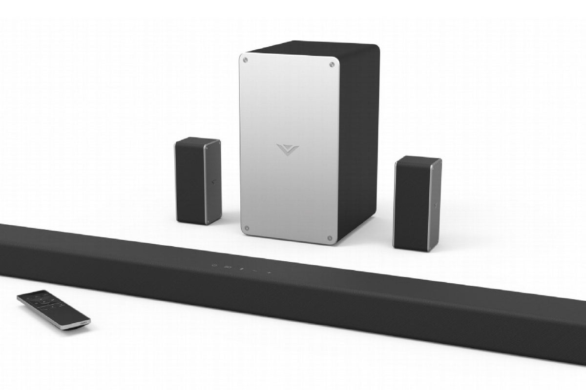 Vizio's sound bar system has three channels on the sound bar and discrete left and right surrounds p