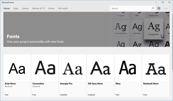 windows 10 fonts store