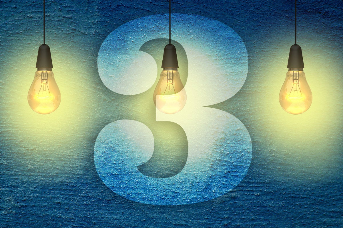 3 lightbulbs with the number three