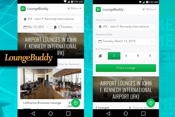 LoungeBuddy mobile app for business travel