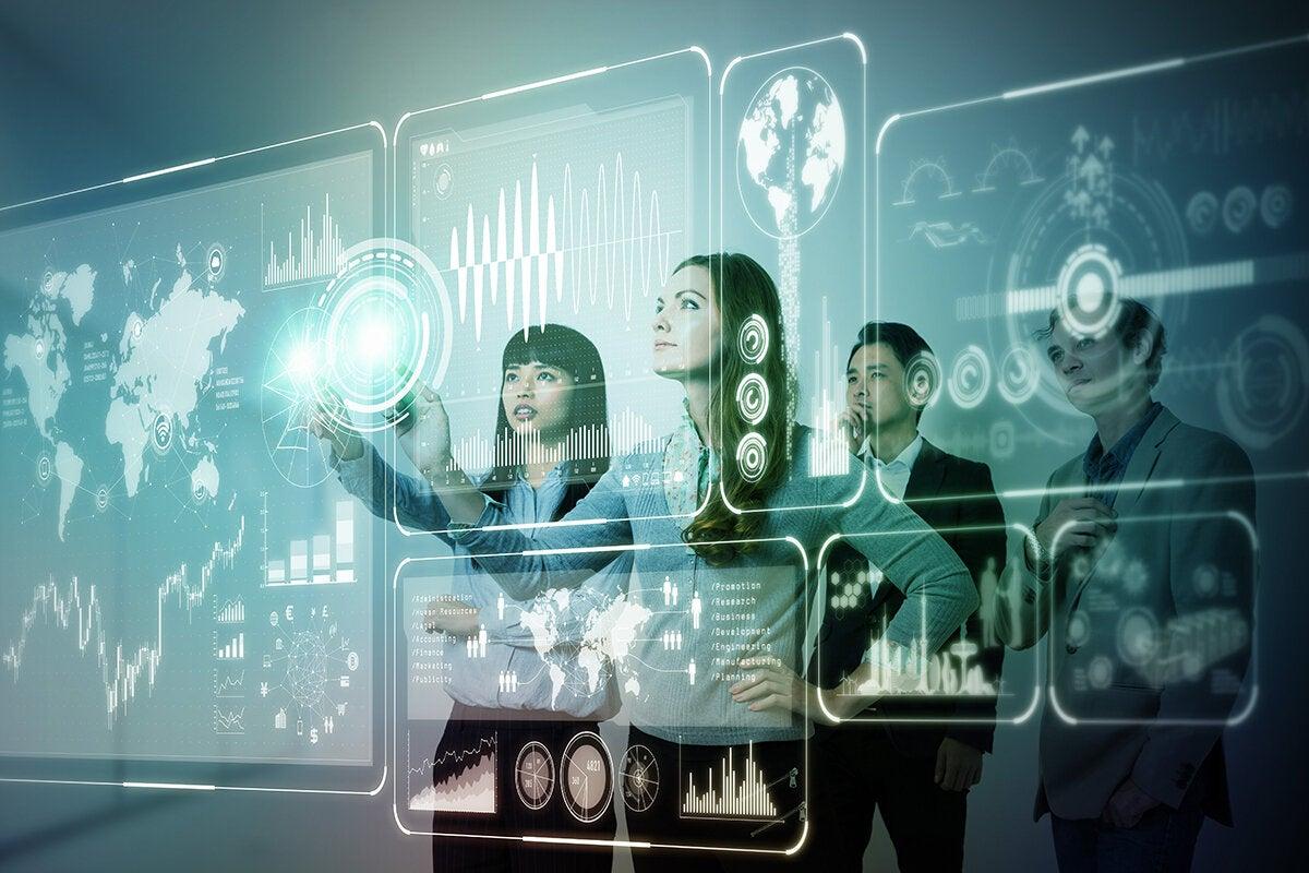 emerging technology - virtual reality [VR] / augmented reality [AR] - virtual display / GUI