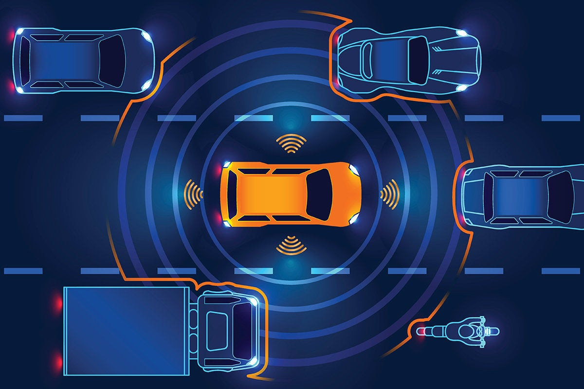 illustration of a smart car gaging distance from surrounding vehicles