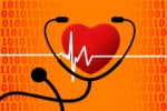IT Healthcare - heartbeat EKG and stethoscope in a binary environment
