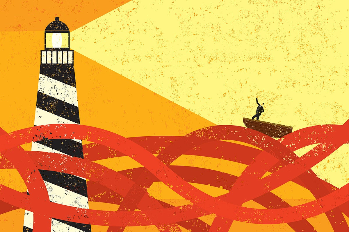 lighthouse beam beckons to a businessman in a boat on a sea of red tape