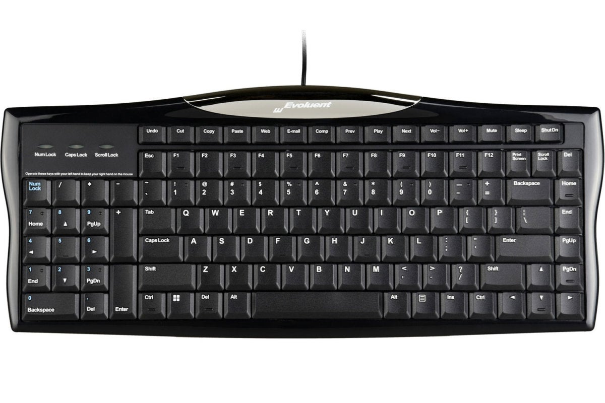 evoluent r3k reduced reach right hand keyboard full view