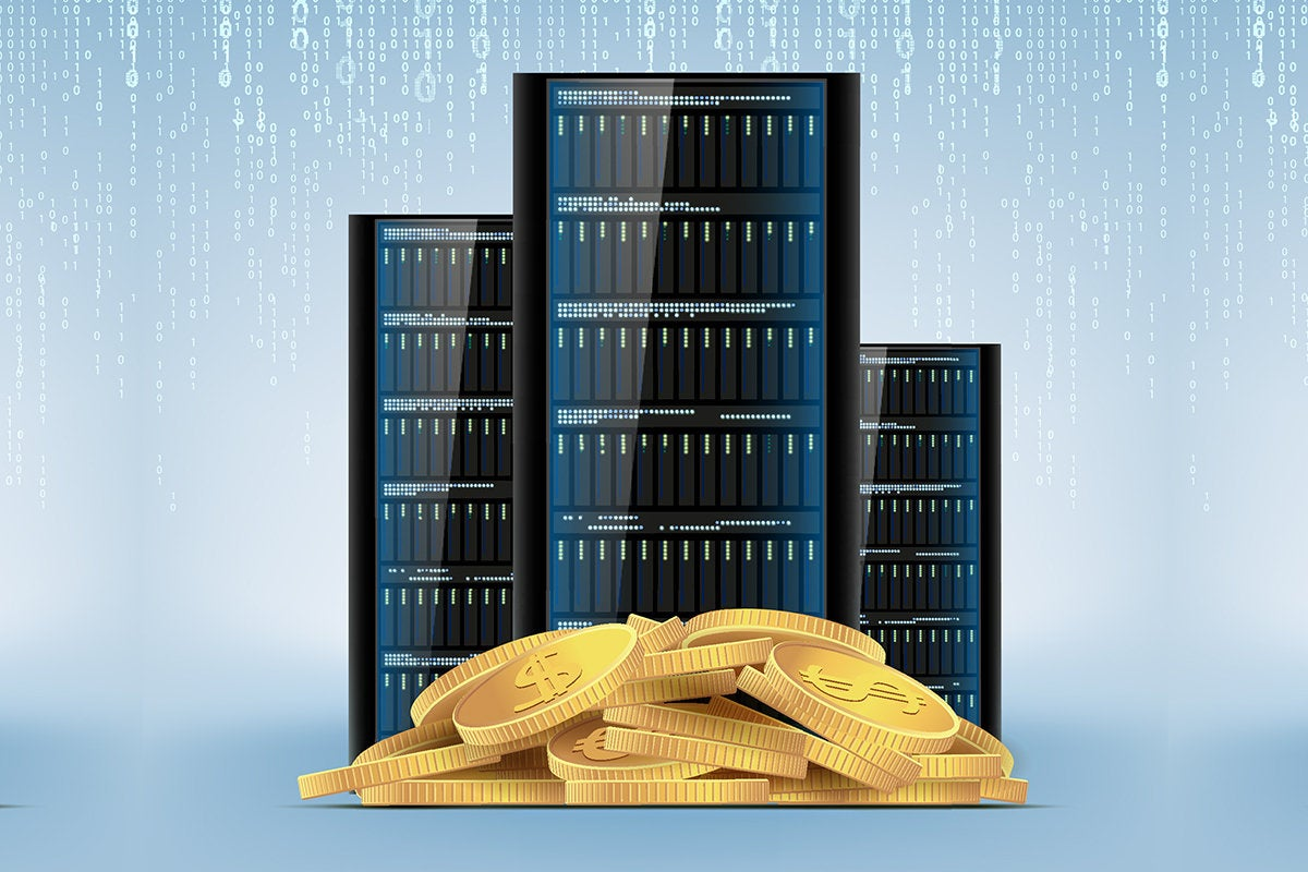 data center servers and monetary symbols