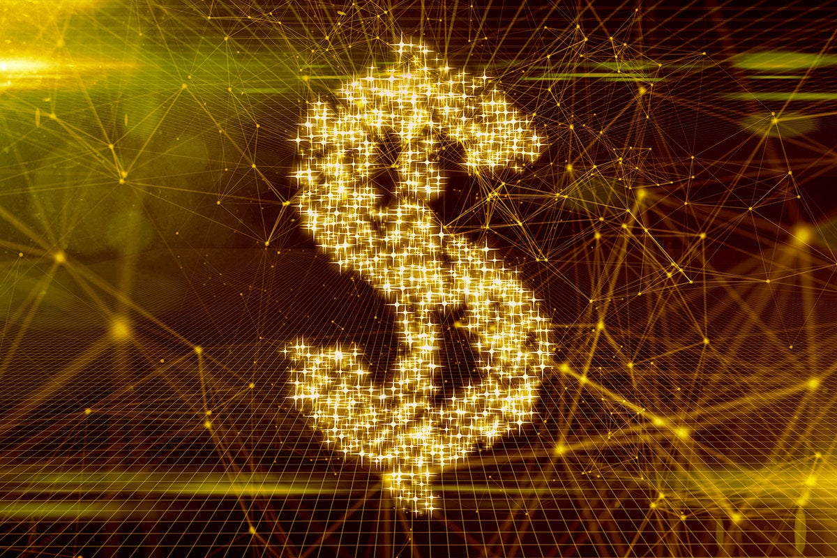 abstract FinTech image of a dollar sign referencing digital transactions and potentially blockchain
