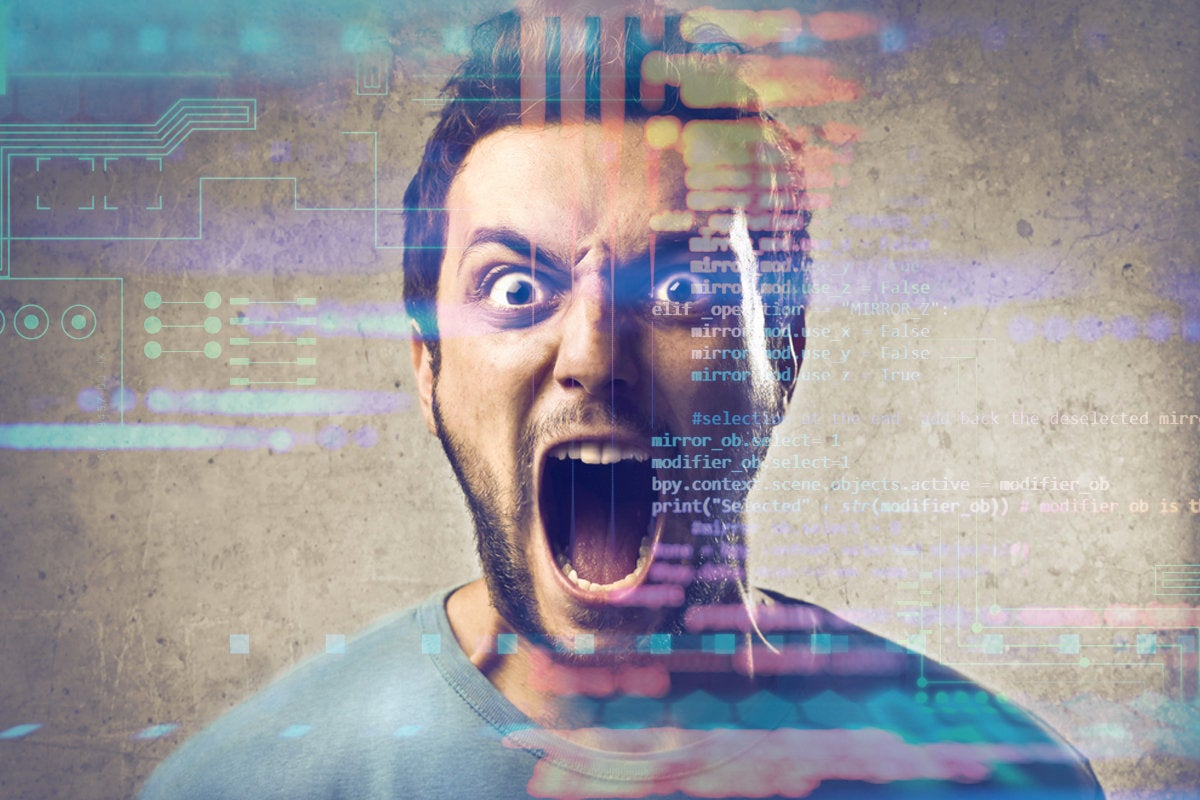 frustrated man with abstract code background