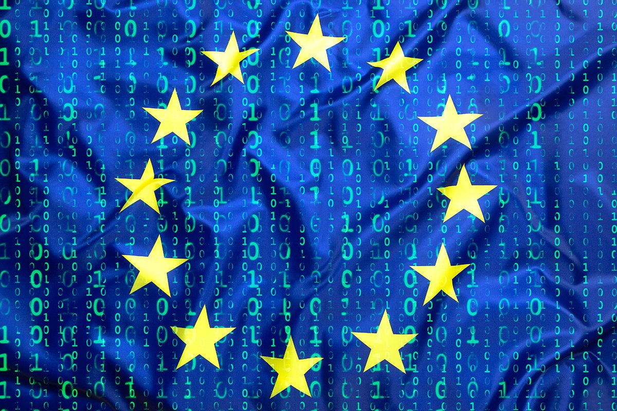 European Union [EU] flag and binary code