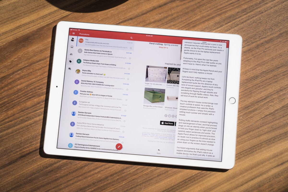 Gmail and Google Docs on the iPad Pro