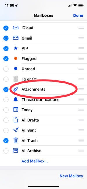 Mail attachments in iOS