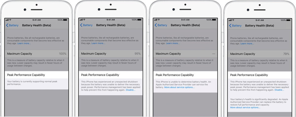 ios 11.3 battery health screens