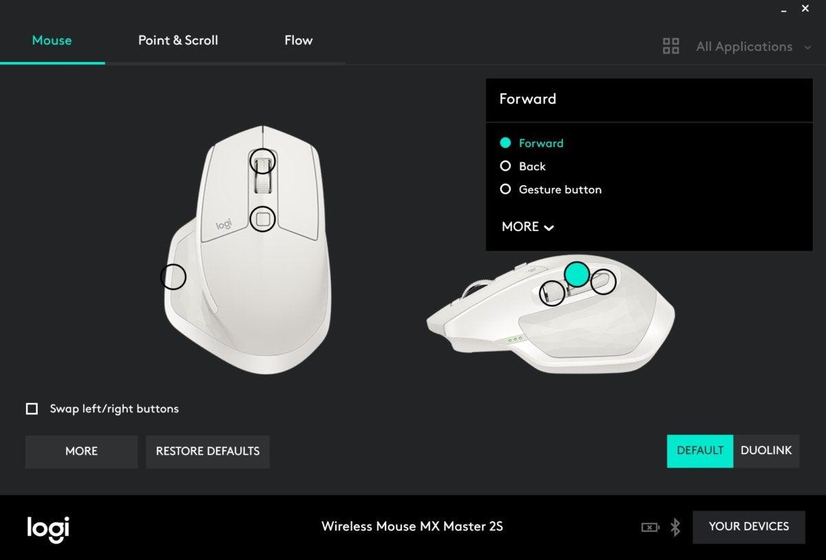 logitech options basic screenshot
